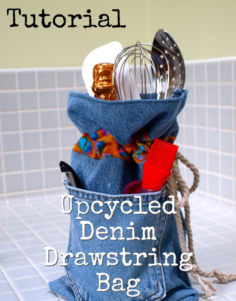 Recycled Denim Drawstring Bag Tutorial - createwithclaudia.com