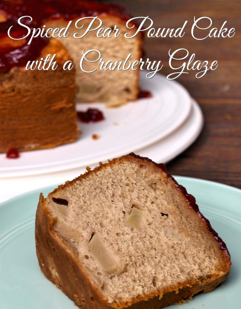 Spiced pear Pound Cake with a Cranberry Glaze - createwithclaudia.com