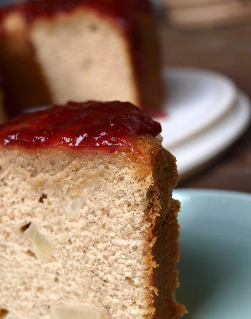 Spiced pear Pound Cake with a Cranberry Glaze - createwithclaudia.com
