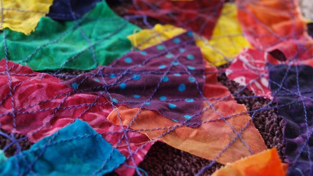 Batik Scrap Fabric Table Runner - createwithclaudia.com