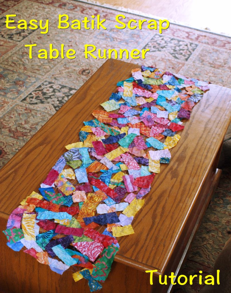 Batik Scrap Fabric Table Runner - createwithclaudia.com