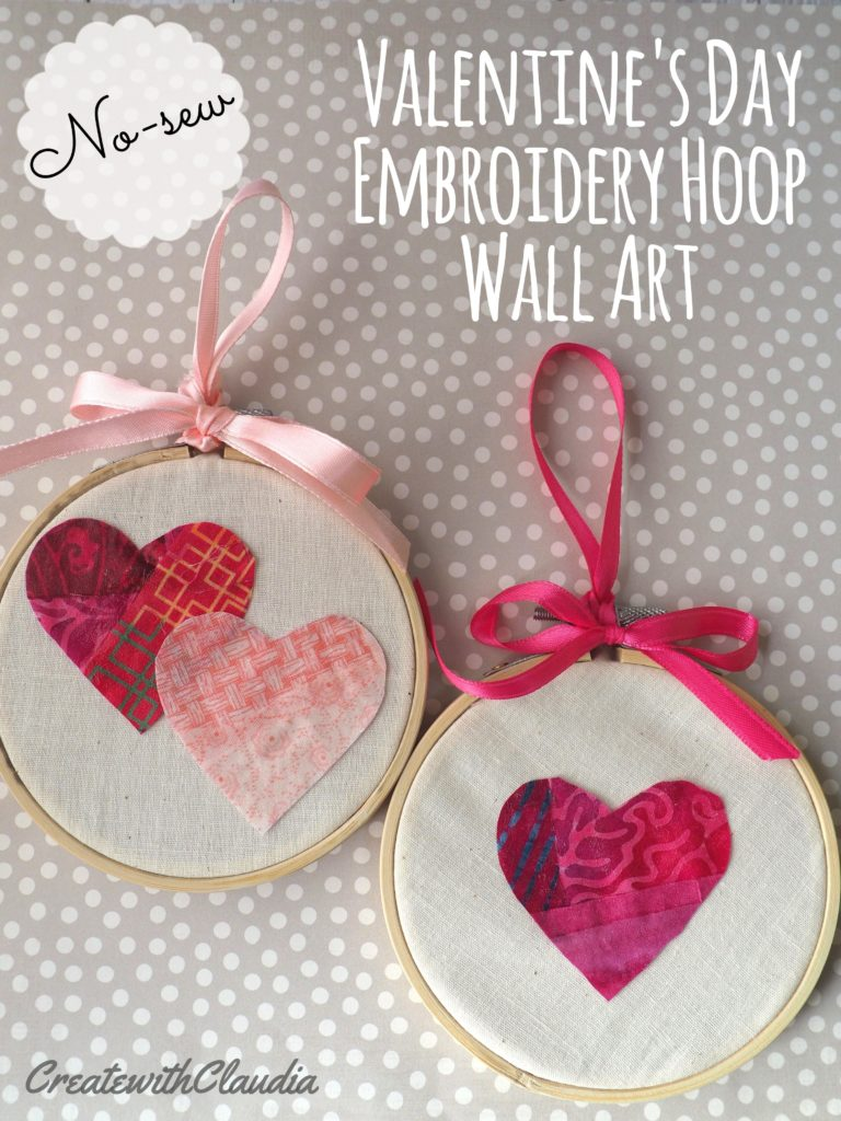 No-sew Valentine's Day Embroidery Hoop Patchwork Wall Hanging www.createwithclaudia.com