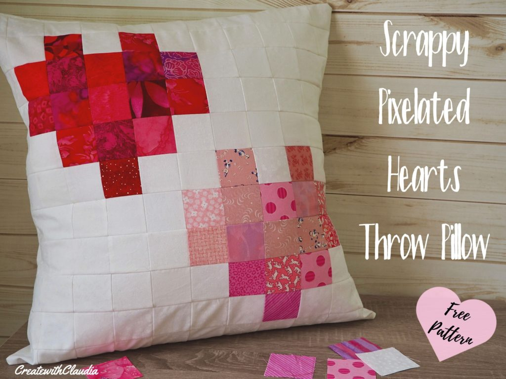 Scrappy Pixelated Hearts Throw Pillow tutorial and pattern for Valentine's Day