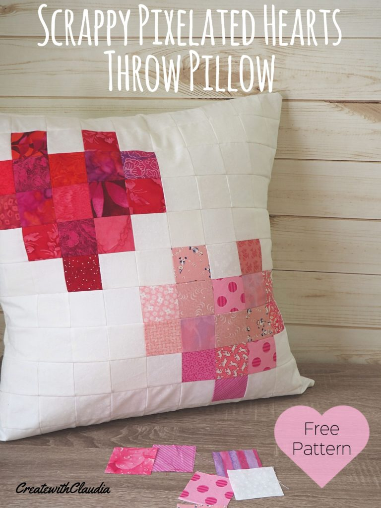 Pixelated Hearts Throw Pillow Pattern