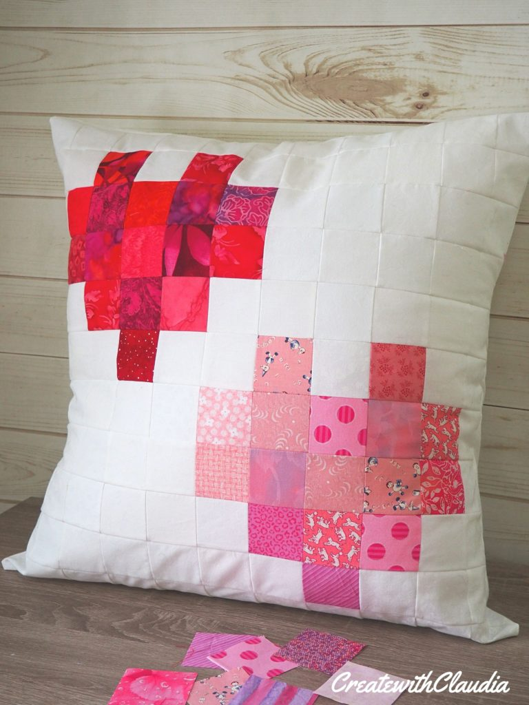 Scrappy Pixelated Hearts Throw Pillow Pattern - createwithclaudia.com