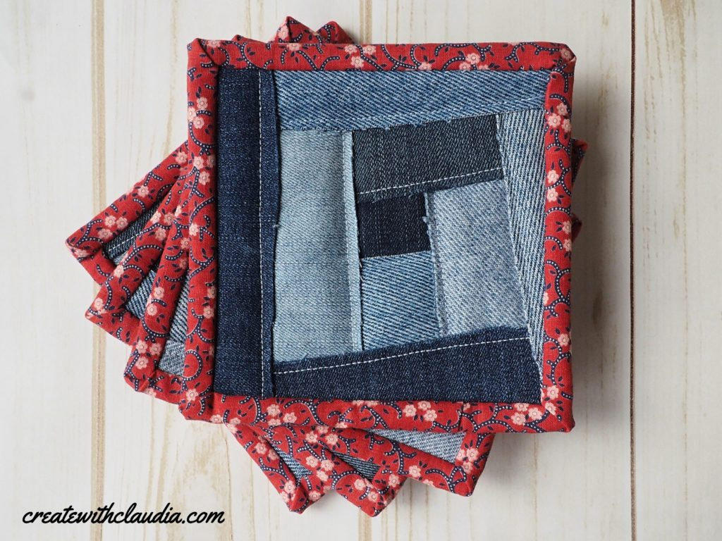 How to Make Coasters Out Of Recycled Denim Blue Jeans - Free Tutorial - Create with Claudia