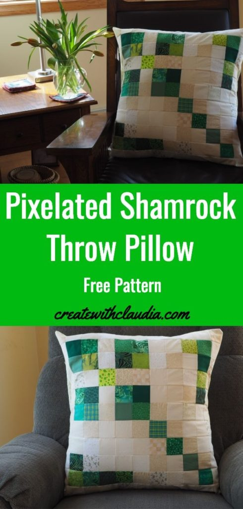Free pattern for a scrappy pixelated shamrock throw pillow.  Perfect for St. Patrick's Day!