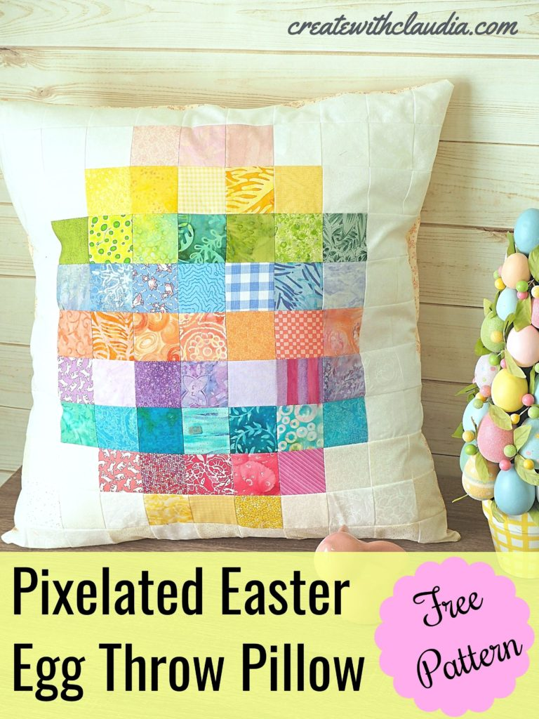 Pixelated Easter Egg Throw Pillow Pattern - createwithclaudia - #eastercraft #sewing