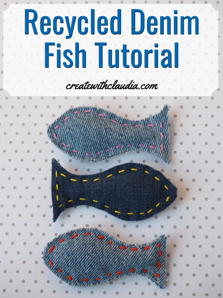 Recycled Denim Fish Tutorial #recycled #sewing #repurposed #recycledcraft createwithclaudia.com