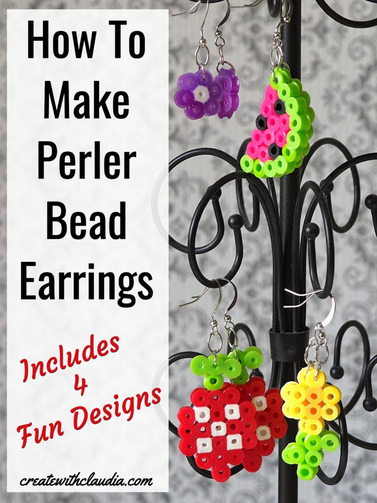 Perler Bead Earring Tutorial - 4 Different Designs #perlerbeads #hamabeads #diytutorial - createwithclaudia.com