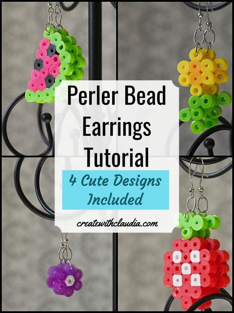 Perler Bead Earring Tutorial - 4 Different Designs #perlerbeads #hamabeads #diytutorial - createwithclaudia.com