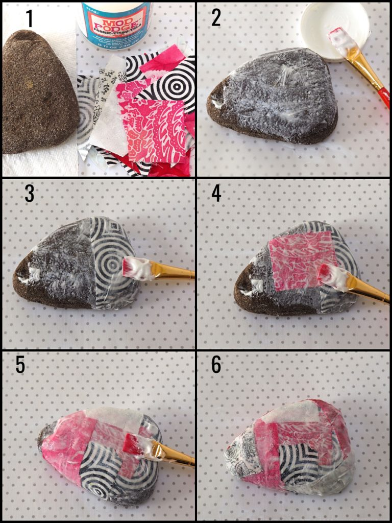 Scrap Fabric Découpage Rock Paperweight Tutorial - createwithclaudia - #découpage #modpodge #fabric