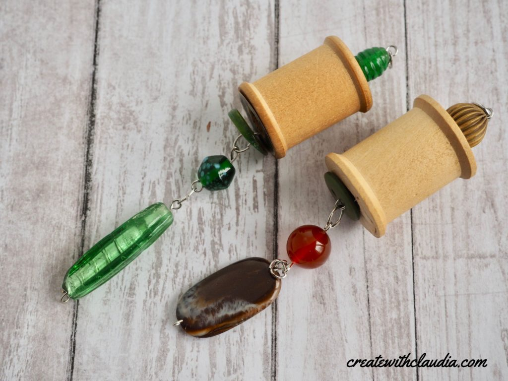 Vintage Wooden Spool and Bead Pendant Jewelry Making Tutorial - createwithclaudia.com