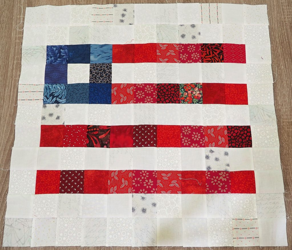 Pixelated Patriotic Throw Pillow Pattern - Finished pillow top - createwithclaudia.com - #fourthofjuly