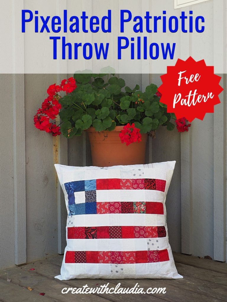 Pixelated Patriotic Throw Pillow Pattern - createwithclaudia.com - #fourthofjuly