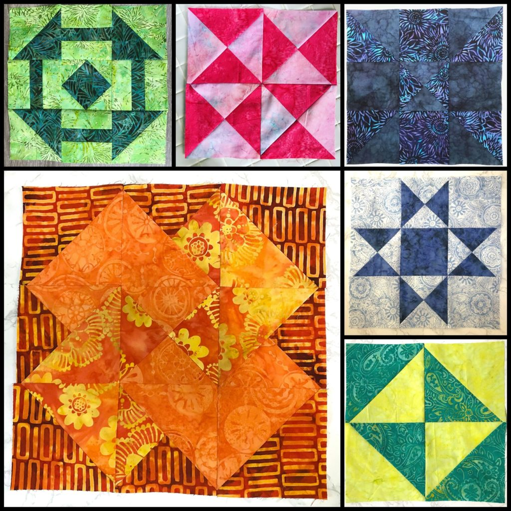 The first 6 months of blocks for the the Patterns by Jen 2019 Monthly Color Challenge
