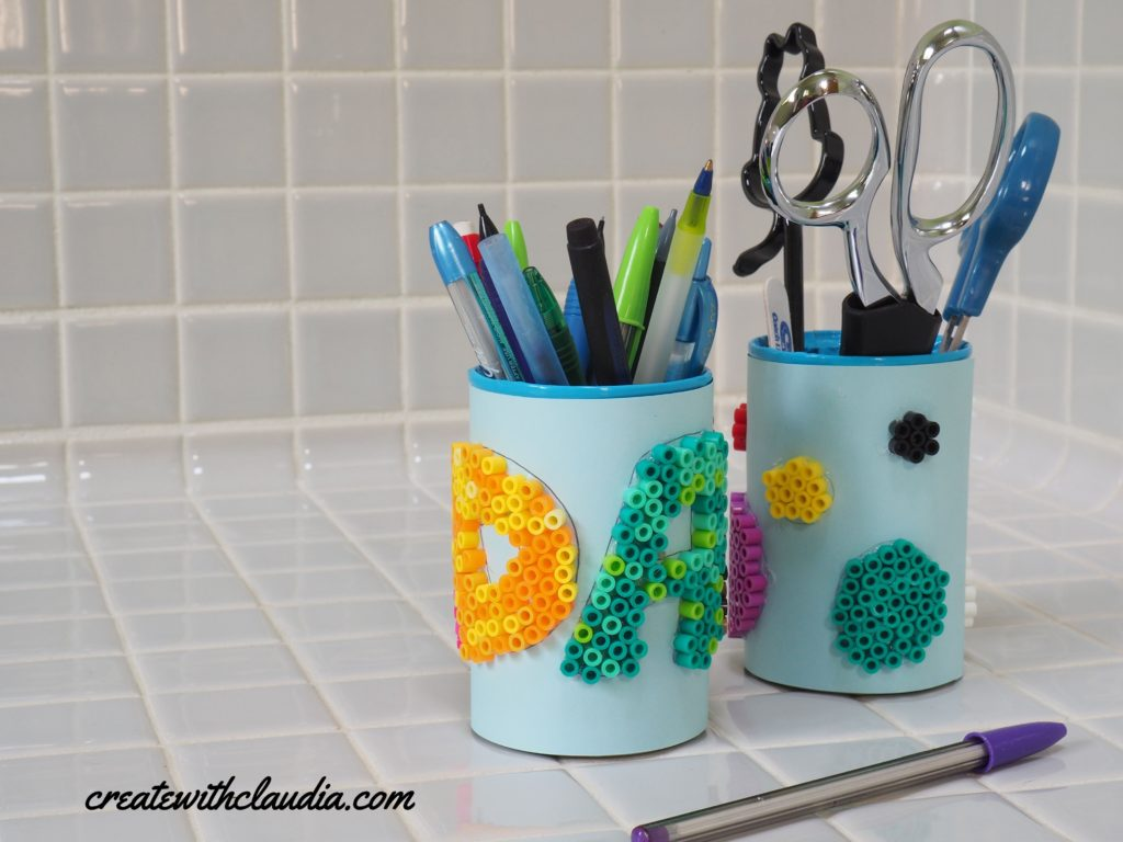 Perler Bead Upcycled Soup Can Pencil Cup DIY Craft Tutorial - createwithclaudia.com