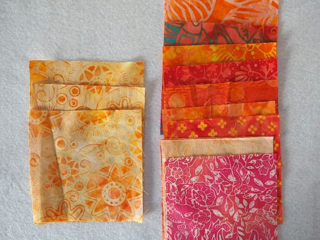 Cutting fabric squares for patchwork fabric infinity scarf