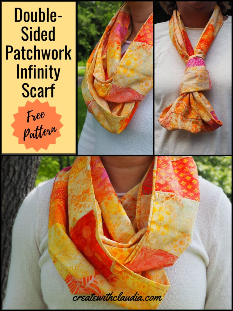 Double-Sided Patchwork Infinity Scarf Pattern