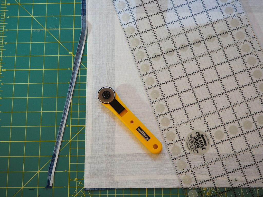 Trimming edges off of handkerchief