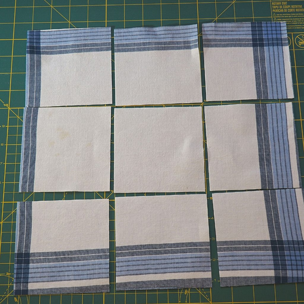 Cutting blocks out of handkerchiefs