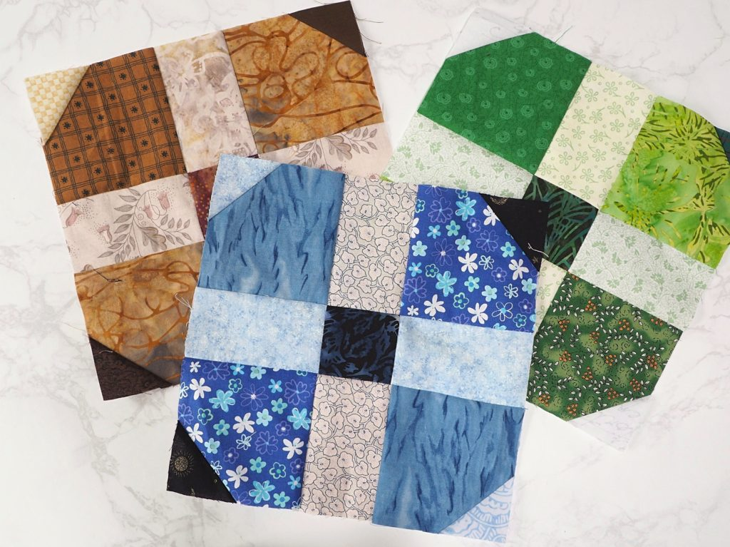 Different versions of the scrap busting quilt block