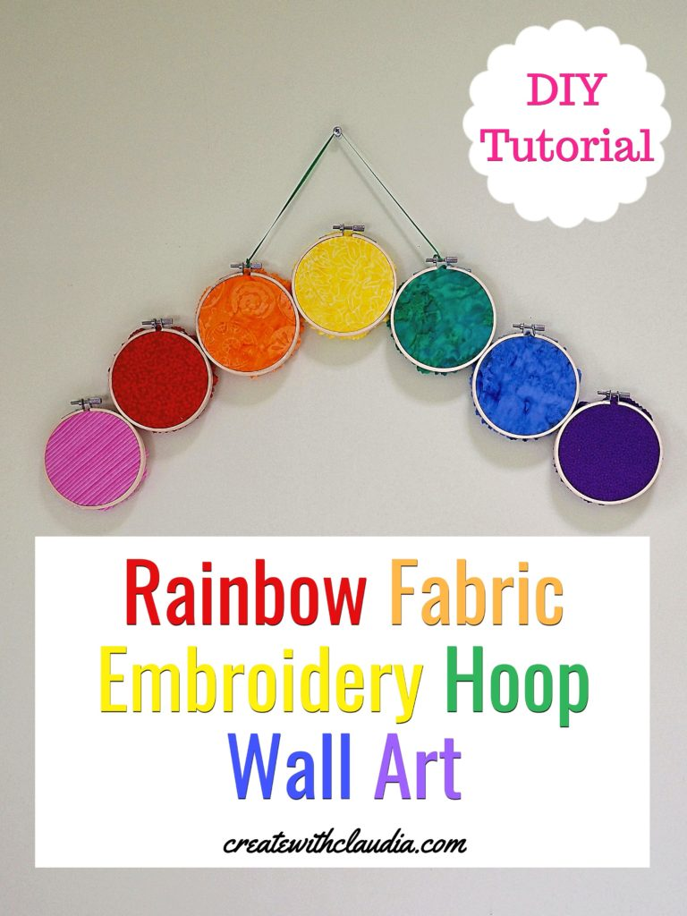 Rainbow Fabric Embroidery Hoop Art - DIY Tutorial