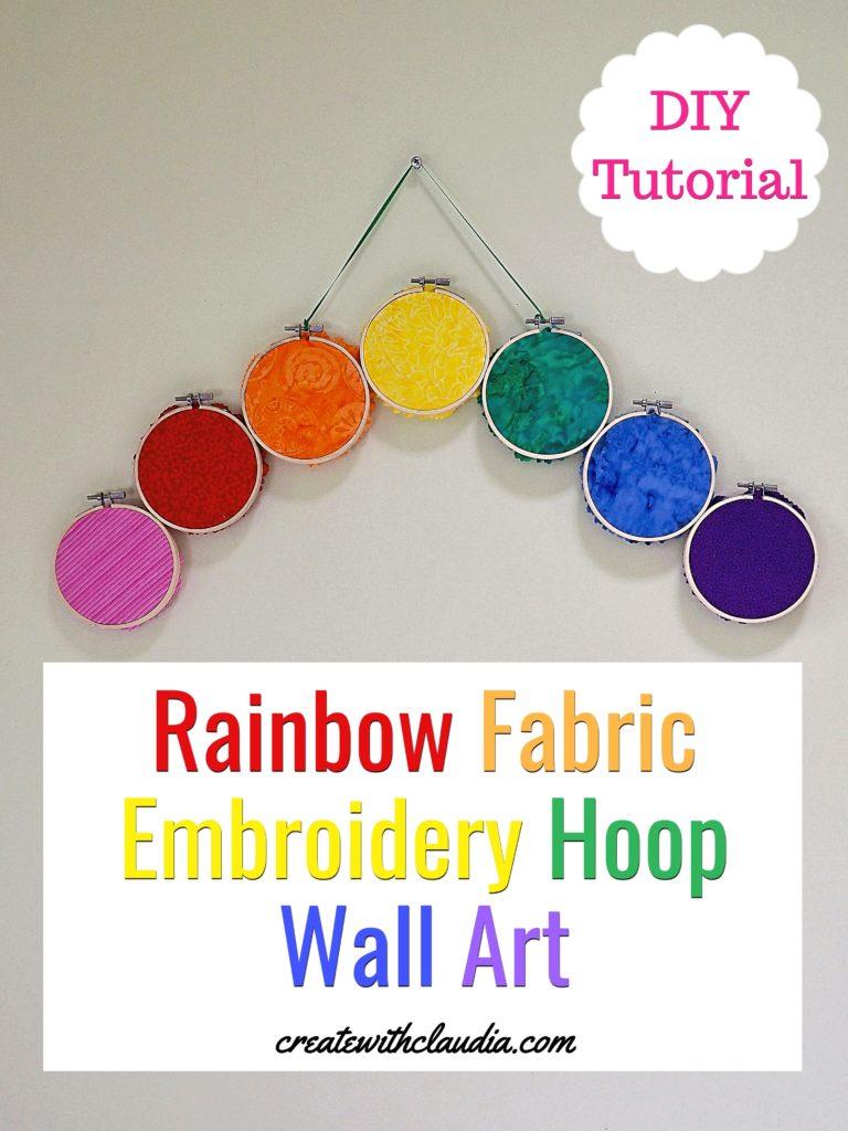 Rainbow Fabric Embroidery Hoop Art - DIY Tutorial