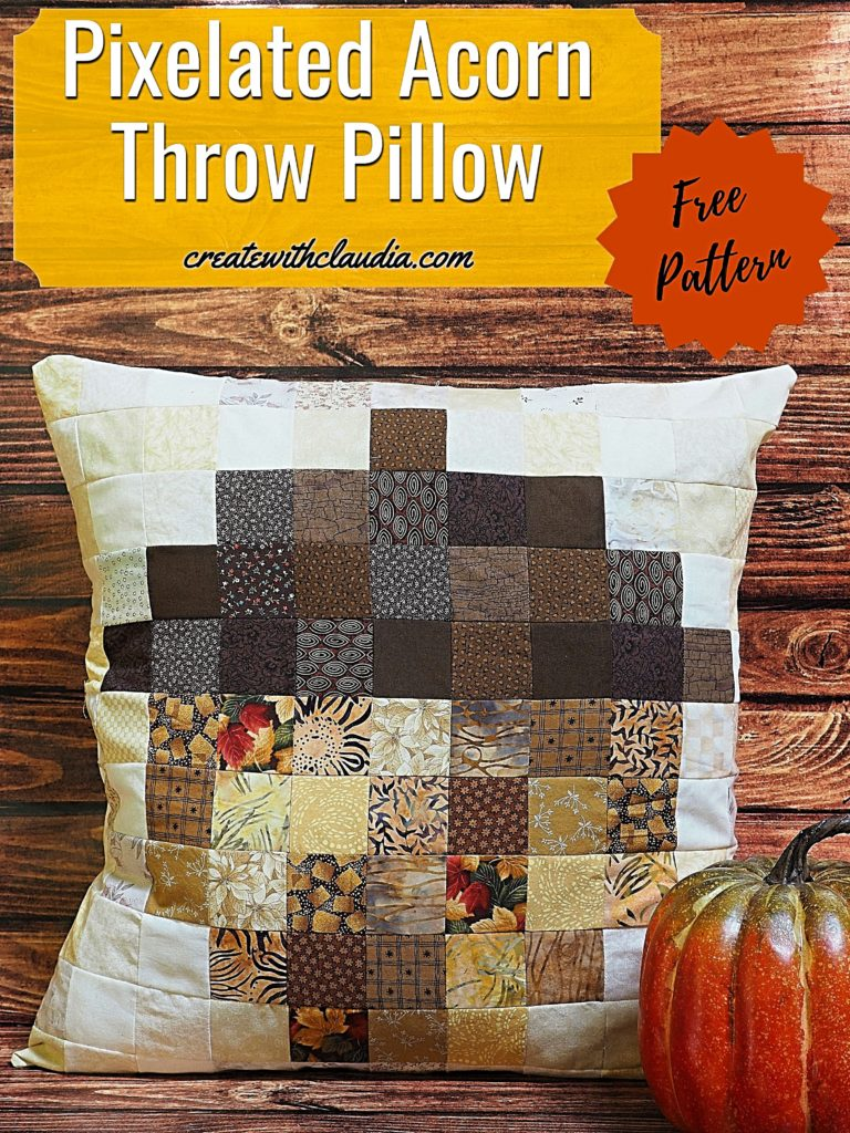 Acorn Pixelated Throw Pillow