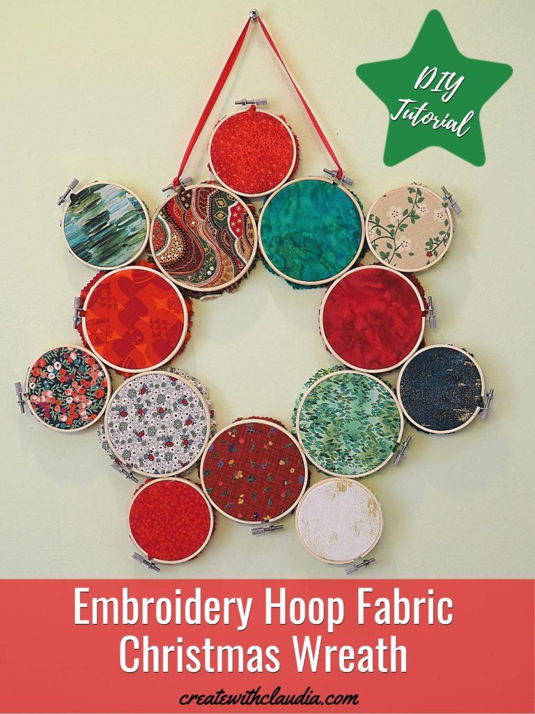 Embroidery Hoop Fabric Christmas Wreath