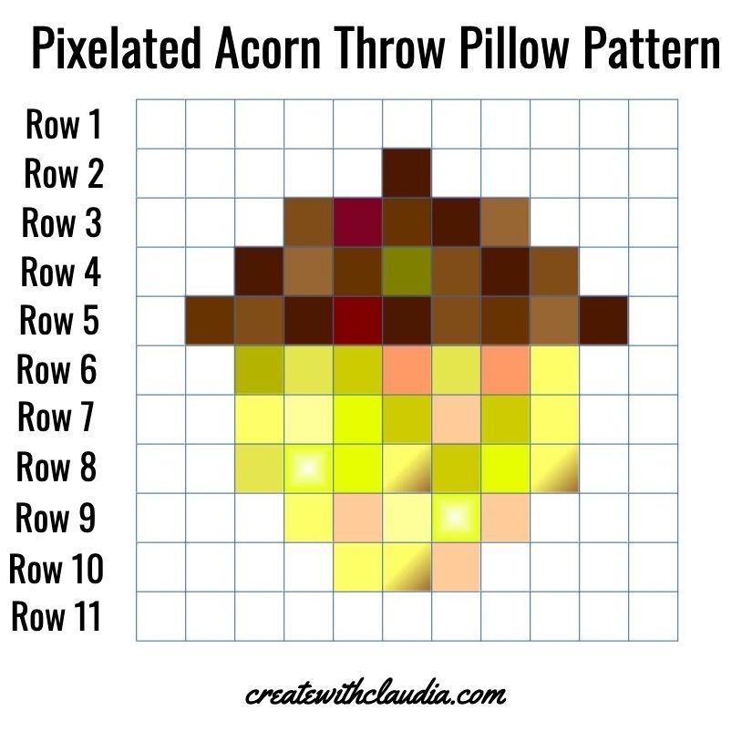 Pixelated Acorn Pillow Pattern