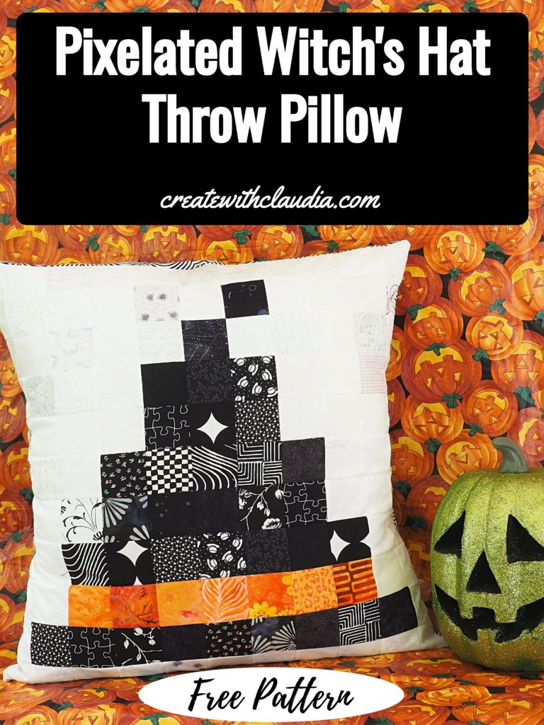 Witch's Hat Pixelated Throw Pillow