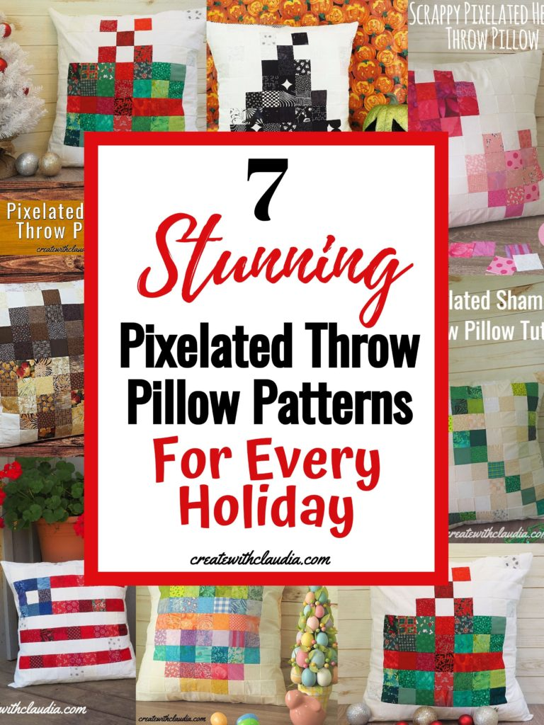 Festive Holiday Pixelated Throw Pillow Patterns