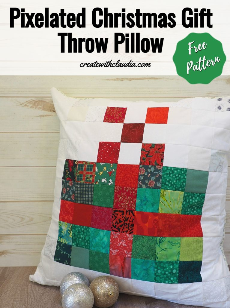 Pixelated Christmas Gift Pillow Pattern
