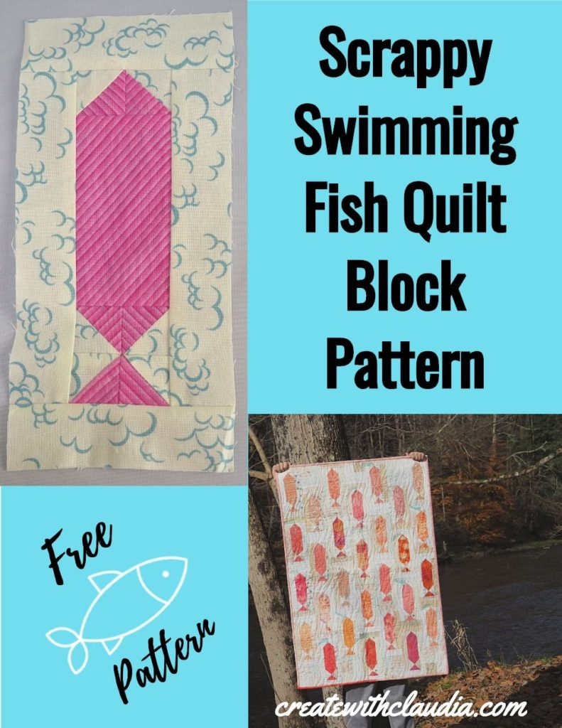 Scrappy Swimming Fish Quilt Block - Free Pattern