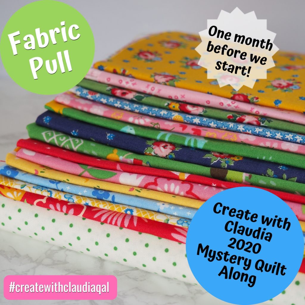 Create with Claudia 2020 Mystery Quilt Along Fabric Pull