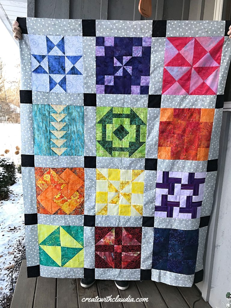 Finished quilt top for the patterns by jen 2019 monthly quilt along