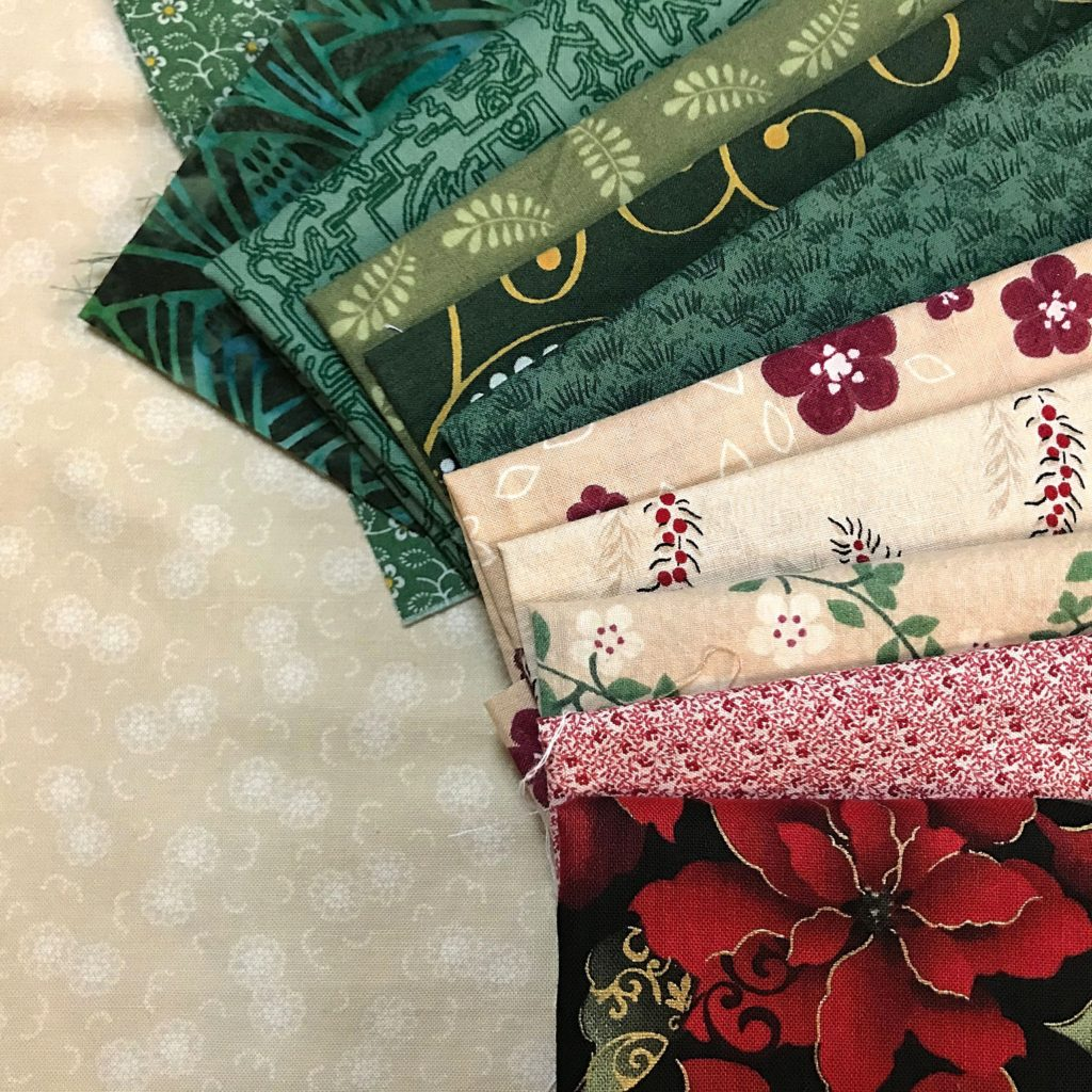 Christmas version of the Create with Claudia 2020 Mystery Quilt Along Fabric Pull - For the video