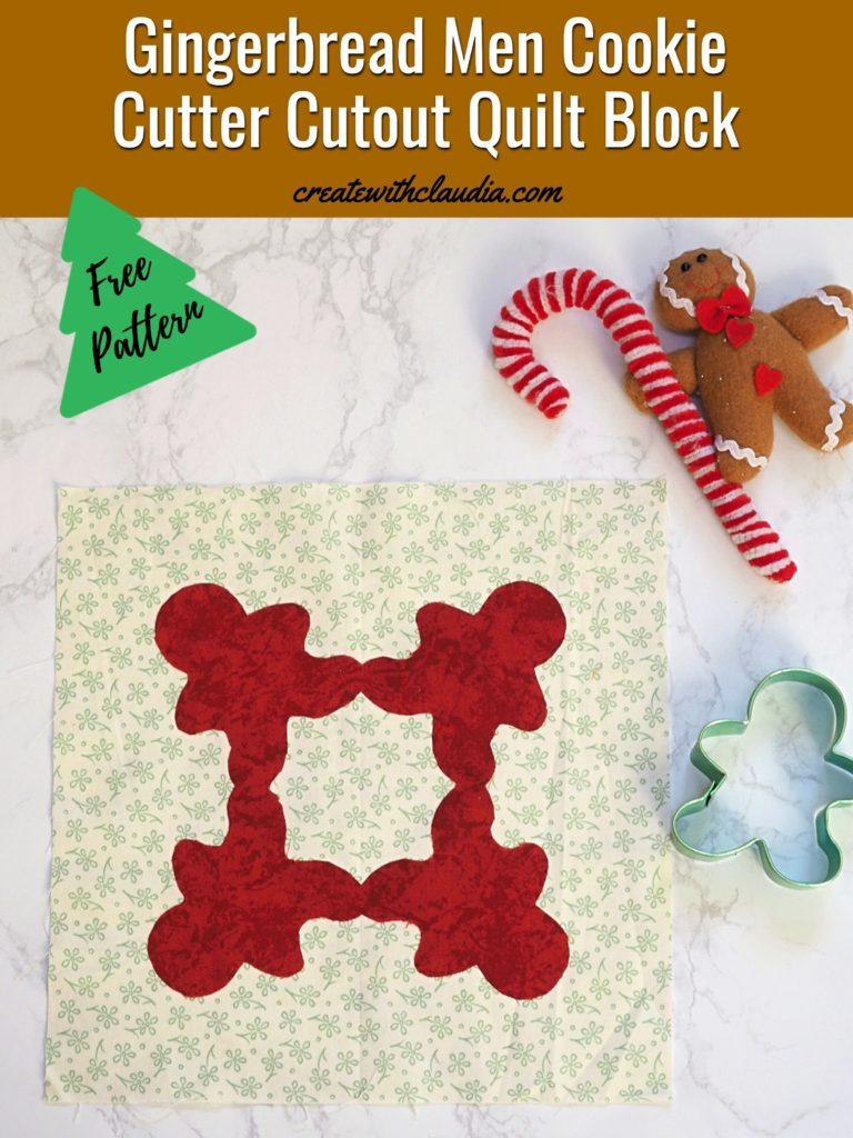 Gingerbread Cookie Cutter Cutout Quilt Block Tutorial