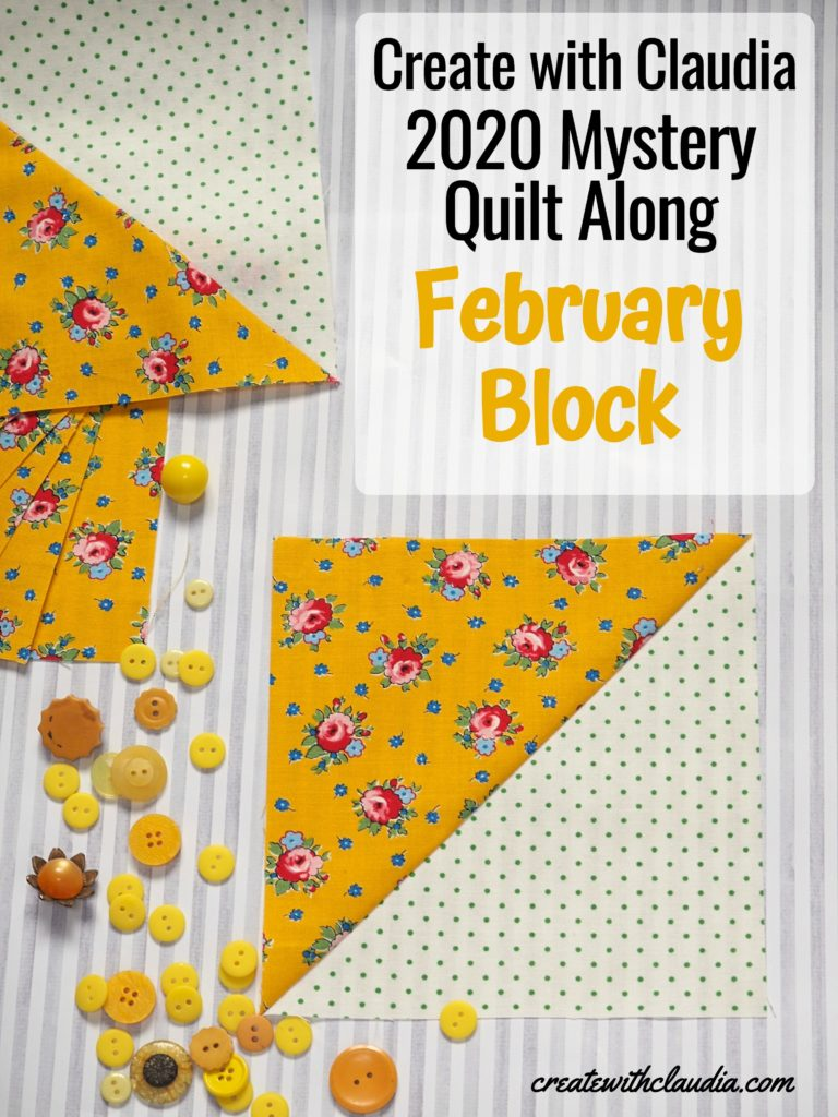 February Mystery Block Instructions - Create with Claudia 2020 Mystery Quilt Along - Half Square Triangle