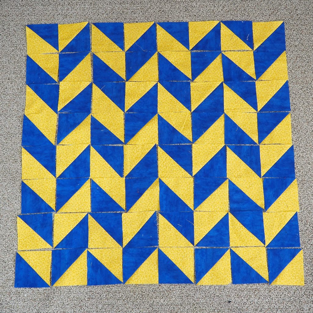 The classic herringbone half square triangle pattern