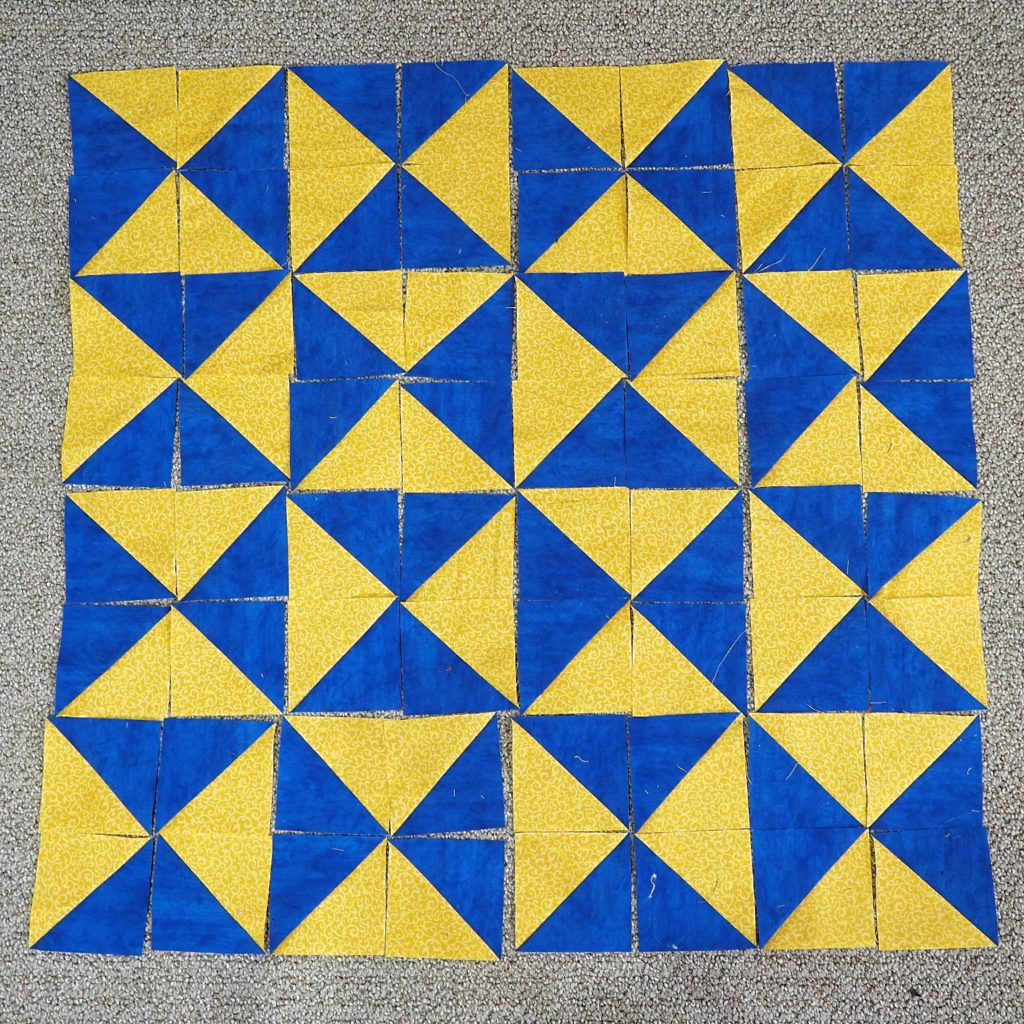 The hourglass, another classic half square triangle pattern.
