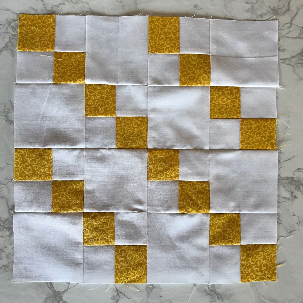 January Monthly Color Challenge Block - Version with White Fabric