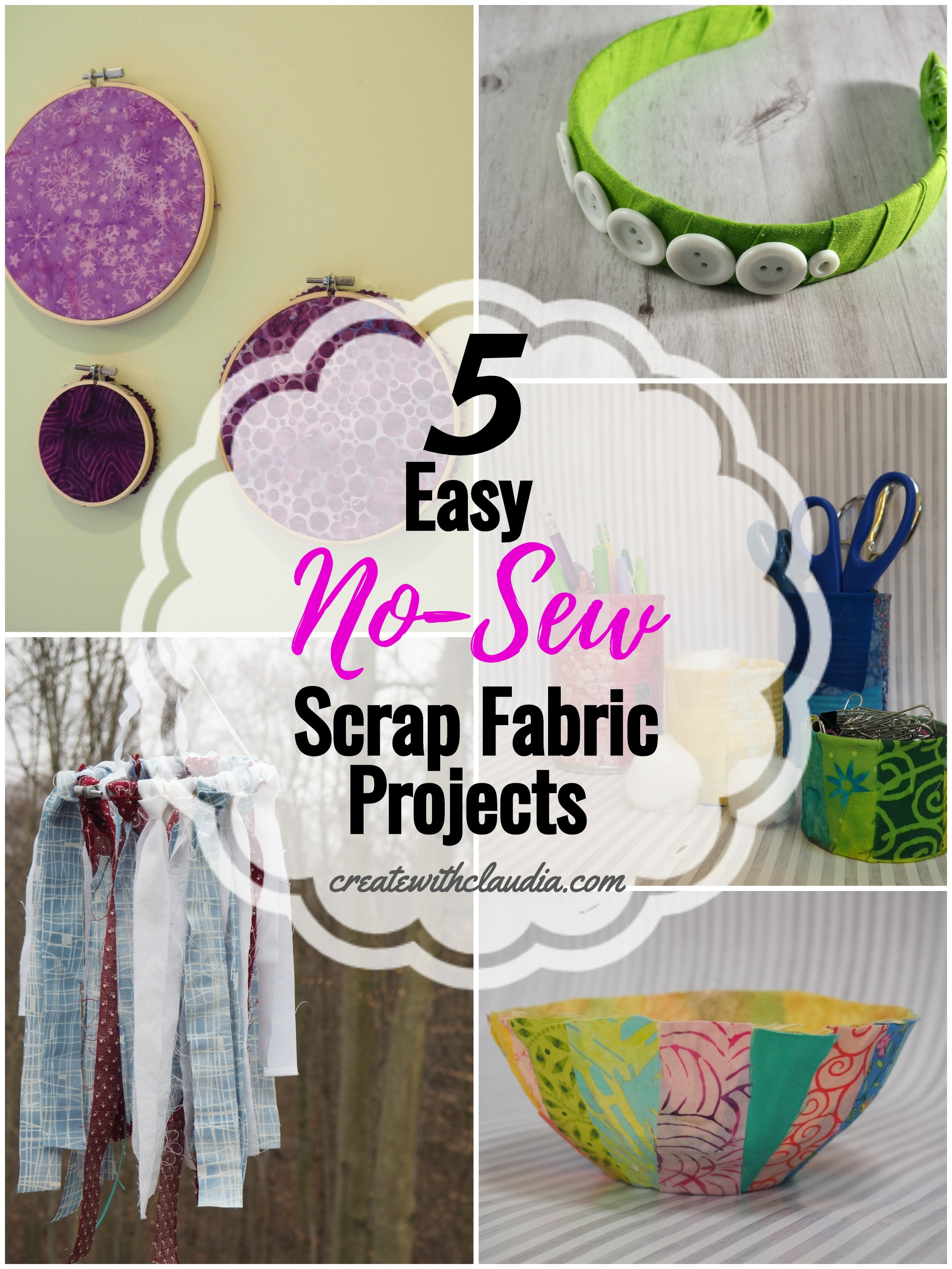 Easy No Sew Scrap Fabric Projects Create With Claudia