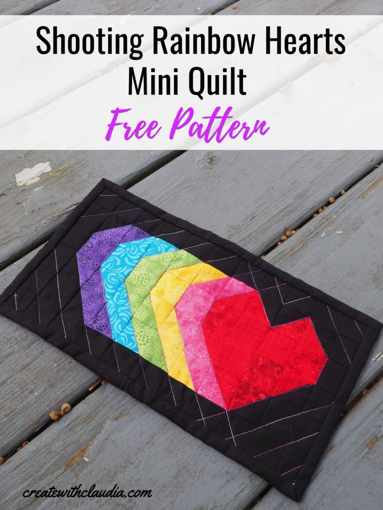 Shooting Hearts Mini Quilt Tutorial and Free Pattern - Rainbow Version