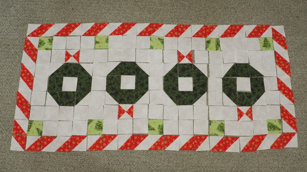 Christmas Wreath Quilted Table Runner Pattern Layout