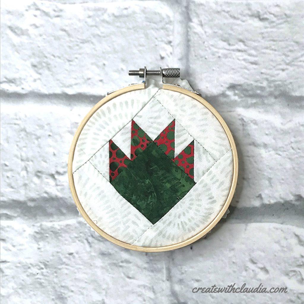 Mini Quilt Block Embroidery Hoop Ornaments Tutorial